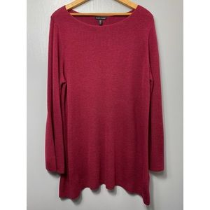 EILEEN FISHER Cranberry Red Tunic Sweater